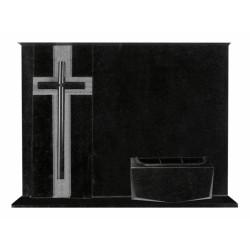 Lápida de nicho en granito Negro Intenso con cruz de granito