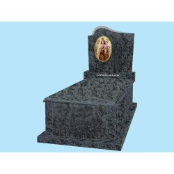 Sarcófago grada alta gruesa con tapa bombeada en granito Verde Oliva