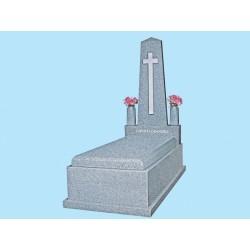 Panteón tapa inclinada en granito Gris Quintana