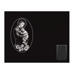 Lápida de nicho en granito Negro Intenso con imagen grabada a láser