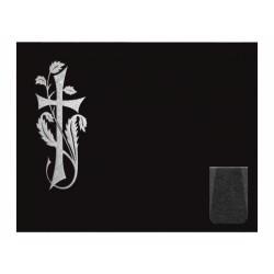 Lápida de nicho en granito Negro Intenso con cruz grabada