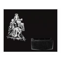 Lápida de nicho en granito Negro Intenso con imagen grabada