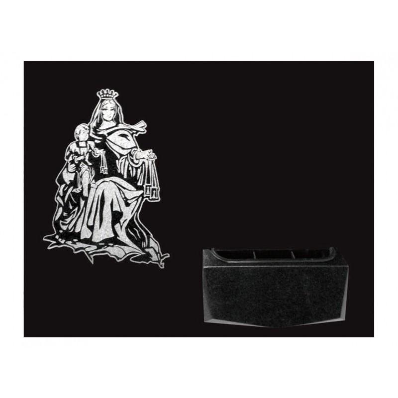 L pida de nicho en granito negro intenso con imagen - Granito negro intenso ...