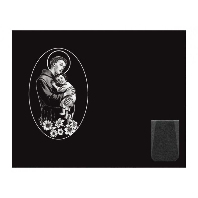 L pida de nicho en granito negro intenso con imagen for Granito negro intenso