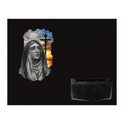 Lápida de nicho en granito Negro Intenso con imagen incrustada a color