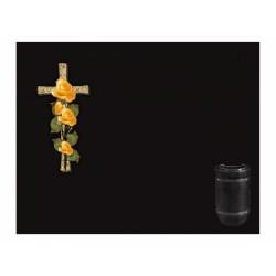 Lápida de nicho en granito Negro Intenso con cruz incrustada a color