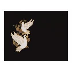 Lápida de nicho en granito Negro Intenso con palomas incrustadas a color