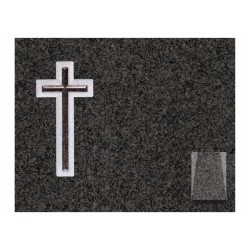 Lápida de nicho en granito Sudáfrica con cruz tallada